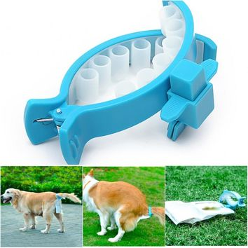 Hands free dog poop collector