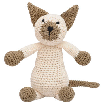 Cream-brown Wild Cat Handmade Amigurumi Stuffed Toy Knit Crochet Doll VAC