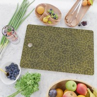 Black and faux gold swirls doodles Cutting Board by savousepate