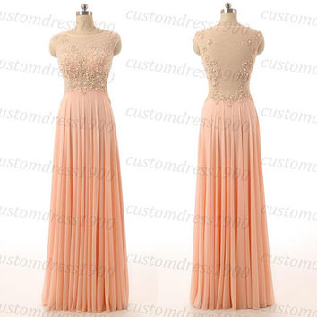 Elegant Coral Prom Dress Cap Sleeve Handmade High Quality Chiffon Dress Formal Evening Gowns Coral Wedding Party Dress