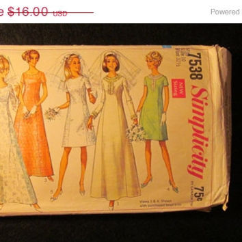 Sale 1960's Simplicity Sewing Pattern, 7538! Size 10 Misses/Women's/Sml/Medium/Wedding Dresses/Bridesmaid Dresses/Formal/Prom/Retro Gowns