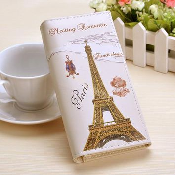 Paris Flags Eiffel Tower Women Wallets Bags Long Clutch Lady Purses Handbags Moneybag Girls Coin Purse Cards Holder Burse Wallet