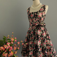 My Lady - Pink Red Floral Dress Black Floral Bridesmaid Dresses Country Dress Summer Sundress Floral Party Prom Dress XS-XL