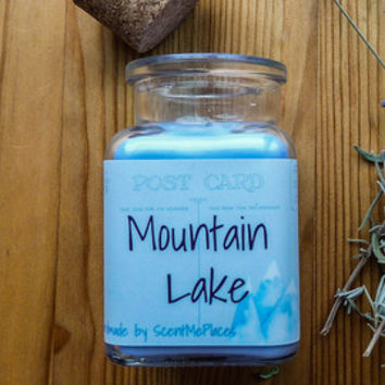 Soy Candle Mountain Lake, nature soy scented candle, gift for her, all natural candle, soy wax scented candle, home decor, blue decor