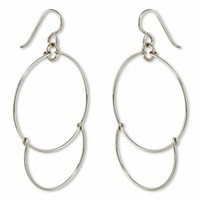 Handmade Sterling Silver Dangling Hoop-and-a-Half Hoop Earrings w/Hook Clasp, 47mm