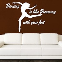 Wall Decals Quotes Vinyl Sticker Decal Quote Dancing is like Dreaming with your feet Dance Studio Dancer Dancing Home Decor Bedroom Art Design Interior NS594