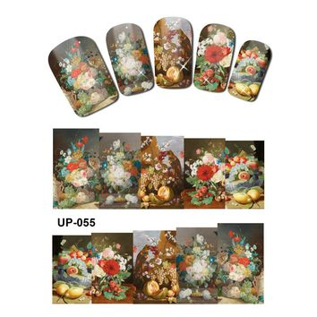 UPRETTEGO NAIL ART BEAUTY TATTOO WATER TRANSFER DECAL SLIDER OIL PAINTING VINTAGE VASE SUN FLOWER ROSE CHALET UP055-060