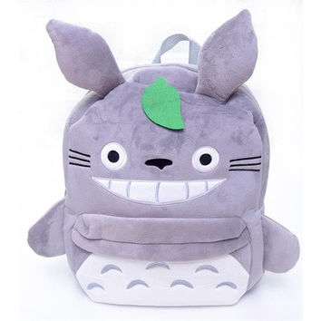 Small Grey Totoro Plush Anime Kids Shoulder SchoolBag Backpack Bag 10*8'' New (Size: 25.4 cm, Color: Grey) [8081692359]