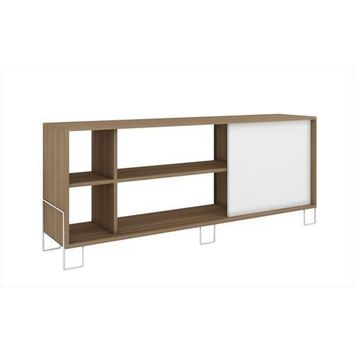 Accentuations by Manhattan Comfort Eye- catching Nacka TV Stand 2.0 with 4 Shelves and 1 Sliding Door in an Oak Frame with a White Door and Feet