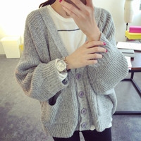 Chunky Knit Fall Sweater in Grey or Pink