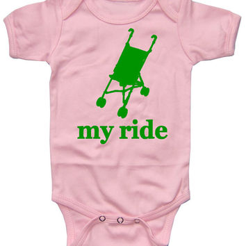 My Ride Stroller Light Pink Baby Onesuit Bodysuit