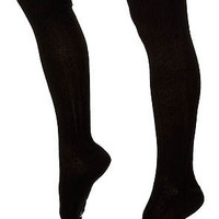Diamond Knit Knee High Socks - Black