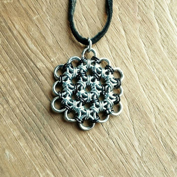 Flower of Life Pendant Black and Silver Chainmaille Jewelry Mens Necklace Sacred Geometry Jewelry Burningman Hippie Jewelry Mens Chain
