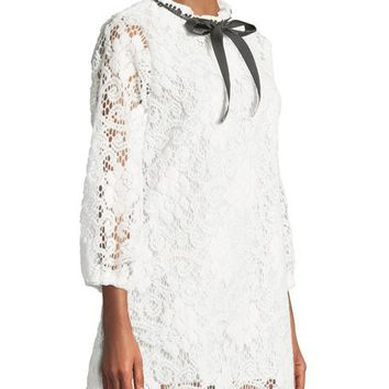 Haute Rogue Ribbon-Neck Crochet Mini Lace Dress