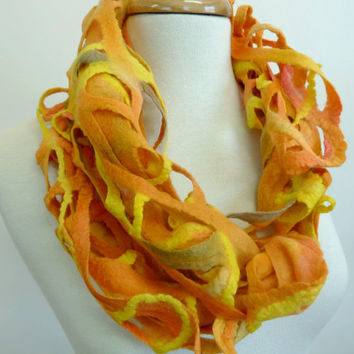 Autumn Tones Wool Felted Scarf  Woven Wearable Art Scarves Australian Made Tangerine and Marmalade