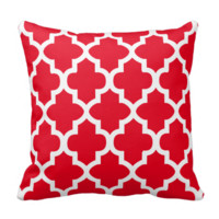 Red and White Quatrefoil Pattern | DIY Color Throw Pillow