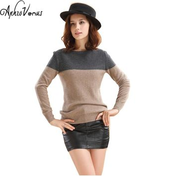 Women 'Cashmere Sweater Female Autumn Winter Dark Gray & Camel Knitted O-neck Long Sleeve Casual Soft Pullover Women Poncho Pull