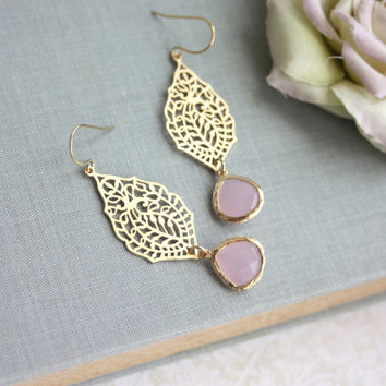 Gold Paisley Filigree Chandelier Ice Pink Gold Drop Dangle Earrings, Bridesmaid Earrings, Bridesmaid Gift, Wedding Bridal Jewelry