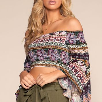 Love Triangle Floral Off-the-Shoulder Crop Top - Purple