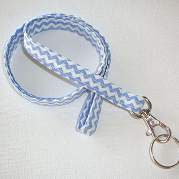 Lanyard  ID Badge Holder - NEW THINNER design - Light blue and white chevron zigzag zig zag  - Lobster clasp and key ring