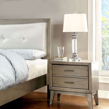 Yarber Contemporary 2-Drawer Nightstand in Grey