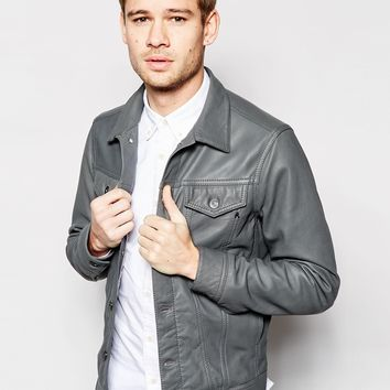 Replay Leather Trucker Jacket Button Front