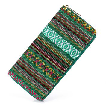 Sansarya 2017 Tribal Jacquard Woven Green Long Women Wallet Boho Ladies Card Holder Aztec Female Purse With Cupreous Zipper
