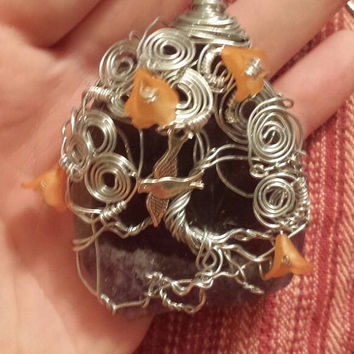 Wire Wrapped free-form Tree Ornament or Sun catcher / Orange flowers and bird charm / Lovely holiday gift / OOAK
