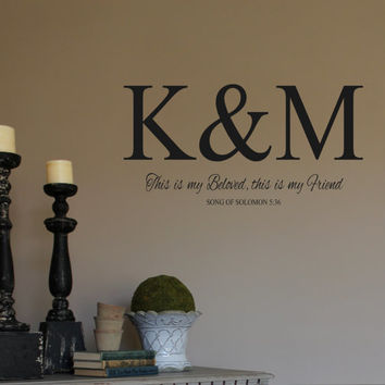 Wall Decal- Monogram Initials-Beloved-Friend-Song of Solomon 5-36 -Scripture-Bible Ver & Wall Decal- Monogram from landbgraphics on Etsy | Things I want