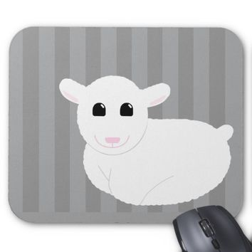 Sweet Smiling Lamb Drawing with Stripes Mouse Pad