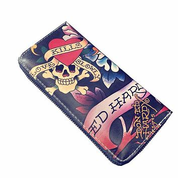 Fashion Vintage Leather Wallet Skull Women Men Clutch Wallets Cards Hold Zipper Around Purses free shipping