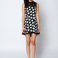 Black And White Polka Dot Ruffled Stitching Mini Dress