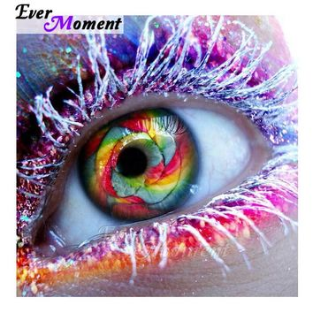 Ever Moment 5D DIY Diamond Painting Colorful Eye Makeup Diamond Embroidery Portrait Decoration Art Craft Full and Square ASF1049