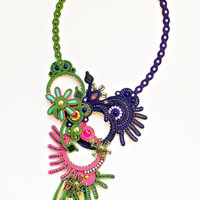 Colorful bohemian soutache necklace. Colorful bead embroidery jewelry. Statement fashion necklace.