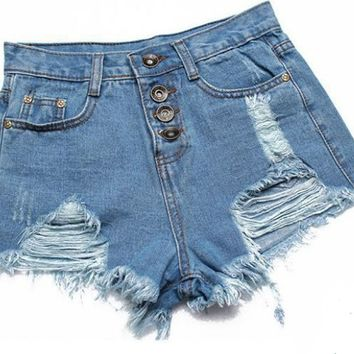 MrSleeper Women's Punk Rock Vintage Grunge Hole Water Wash Retro Shorts Jeans