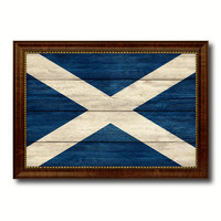 Scotland Country Flag Texture Canvas Print with Brown Custom Picture Frame Home Decor Gift Ideas Wall Art Decoration