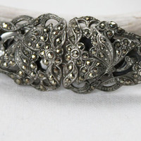 Vintage Marcasite Duette Brooch and Dress or Shoe Clips