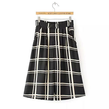 Autumn Korean Stylish Chiffon Plaid Pants High Rise Casual Capri [4917797892]