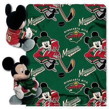 Minnesota Wild NHL Mickey Mouse Throw and Hugger Pillow Set
