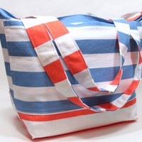 Extra Large Beach Bag in Blue and Coral Stripes