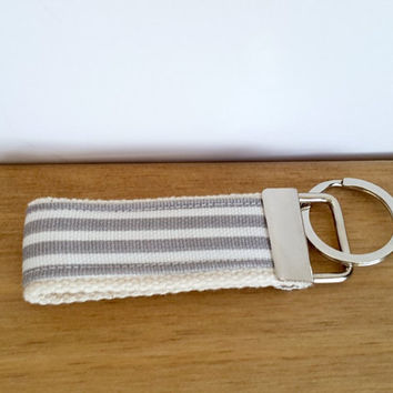 Webbing Key Fob, Stripy Key Ring, Fabric Keyring, Stocking Filler, Office Gift, Party Bag Filler, Key Holder, Key Chain