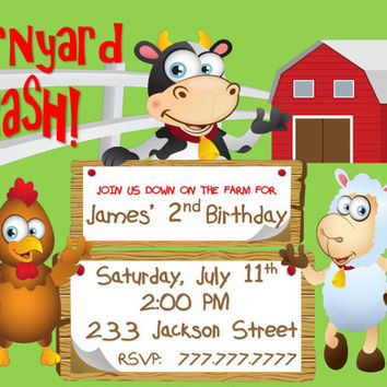 Farm Birthday Party Invitation Barnyard Bash With Cow, Pig and Sheep Customized with your Details