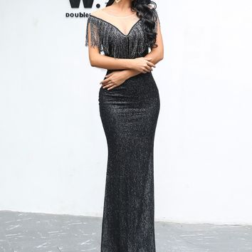 Mesh Insert Fringe Trim Sequin Black Or Gold Maxi Dress