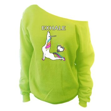 Unicorn Exhale Shirt Cobra Pose Slouchy Sweatshirt