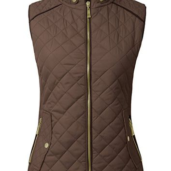 Womens Lightweight Quilted Fur Zip Vest in Various Styles S-3XL