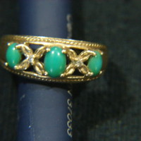 14K Gold & Jade Ring SZ. 6