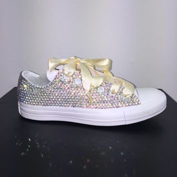 All Star Mono White Converse Bedazzled In AB Crystals Lemon Yellow Laces
