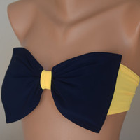 PADDED ...THINER BACK..Navy blue bow swimsuit bandeau bikini top bandeau bikini siwmwear bandeau bikini top with pads women's fashion