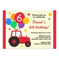 Farm tractor with balloons kids birthday party