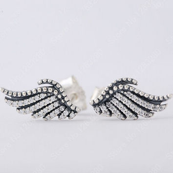 Pave Clear CZ Feather Stud Earring Original Compatible With Pandora Jewelry 925 Sterling Silver Feather Angel Wing Earrings